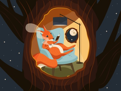 Squirrel resting flat teatime sky stars moon lamp armchair fairy tale for kids book reading night hollow tree rest squirrel illustration vector