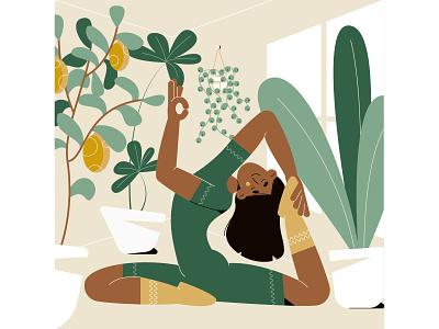 Yoga pots window green plant lemon pose yoga yellow woman girl character flat illustration vector