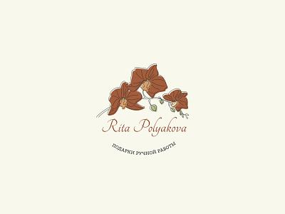 Logo: Handmade gifts linedrawing branding flower logo flowers orchid design flat illustration logo vector
