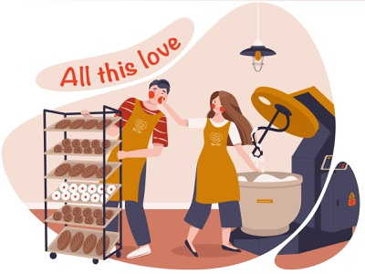 Love in the bakery buns baker production dough mixer bread bakery love couple friends boy man girl woman design flat illustration vector