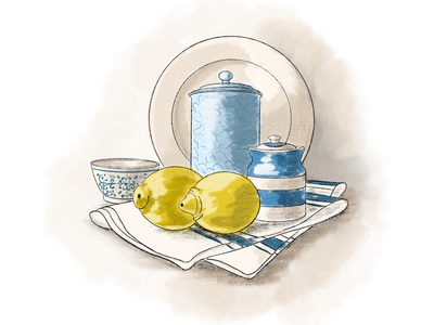 Still life plates illustration procreate jars lemon kitchen still life