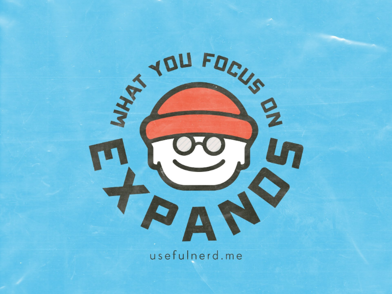Beanie Boy - What you focus on expands. character sticker badge logotype