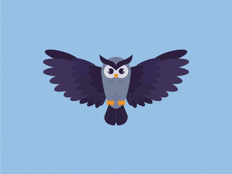 Otus the owl purple bird blue vector illustrator cc design digital pet owl