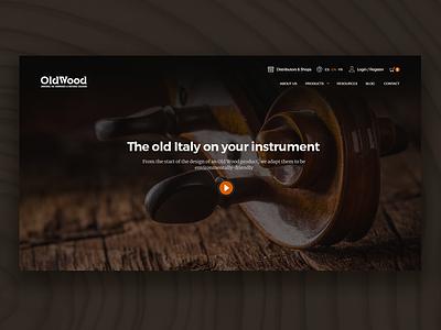 Oldwood Website desktop website homepage elegant instruments music wood brown web design