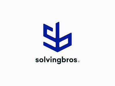 Solvingbros logo design logotype symbol clean blue