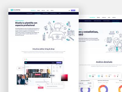 Easymailing elegant desktop email marketing design ui web app clean