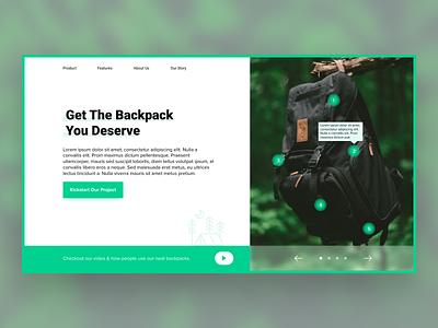 Daily UI #003 | Landing Page kickstarter backpack ecommerce green nature landingpage webdesign ux ui
