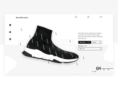 Balenciaga Product Page denmark web webdesign praduct page product simple minimal balenciaga sneakers shoe