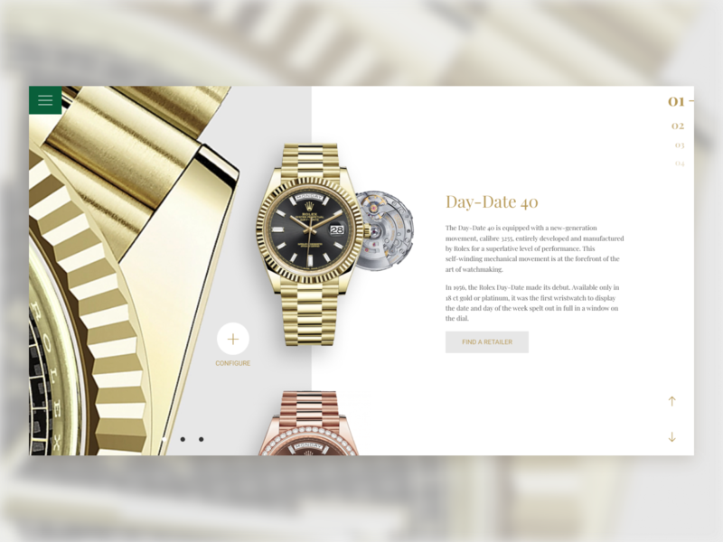 Rolex Product Page typography minimal ecommerce web ux ui design webdesign watch rolex product