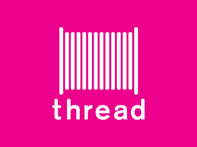 Thread on pink brand color logo