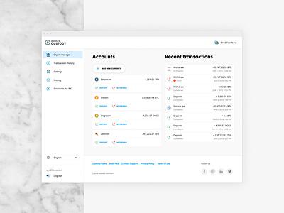 Custody Crypto Storage blockchain dashboard crypto dashboard crypto currency crypto uiux webapplication webapp