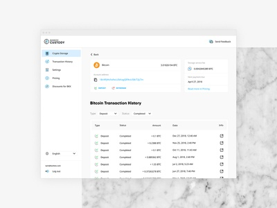 Crypto Custody / BTC account webapp cryptocurrency app crypto currency cryptocurrency blockchain ui design uiux