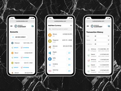 Crypto Custody / Mobile view dashboard design dashboard webapplication webapp bankex blockchain uidesign uiux crypto custody crypto currency
