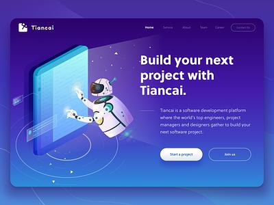 Homepage Design platform ui blue gradient screen clicking tech explainer tech robot