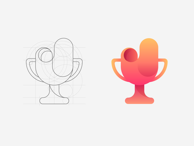 Trophy Logo design gradient illustration logodesign logo hackathon trophy