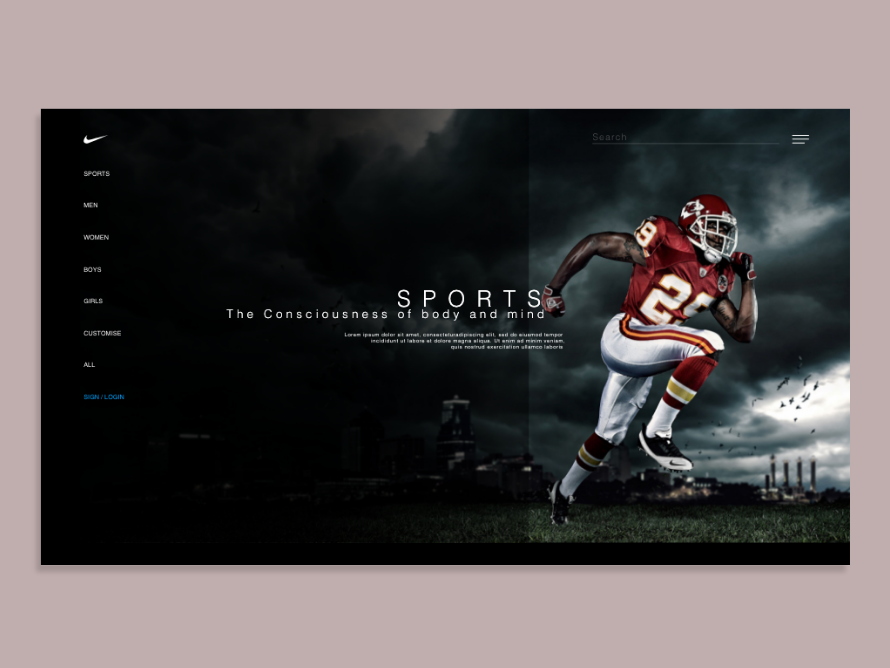 Landing Screen simple clean interface simple design game sportswear sporty nike running designchallenge landing screen landing page design nike design experimental design adobe xd web design shopping app interaction designer dark theme user experience design visual design dailyui