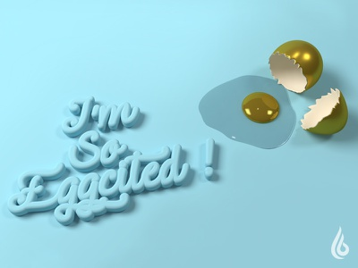 I am so excited on my first Dribbble shot blender render design shot first typography egg cinema4d 3d debut