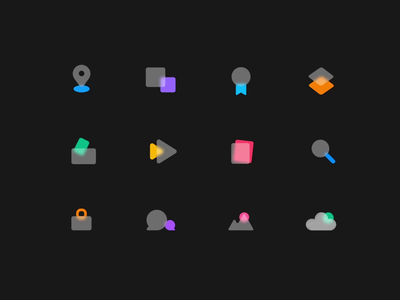 Frosted Icons illustration freebies icon design frostedglass smartanimate figma microinteraction motion uiux iconography