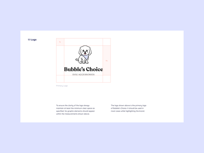 Bubbles Brand Guidelines illustrator cute poodle dog vector minimal uiux design figma illustration logo design logo brand guideline brand identity branding