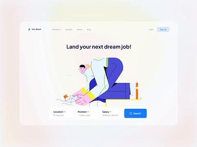 Job Search - Hero Section uiux productdesign job search recruitment landingpage illustration figma ui animation animation hero section