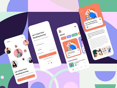 Dreamy - Reading App minimal card figma illustration mobile app design mobile app pastel colors reading app productdesign uiux