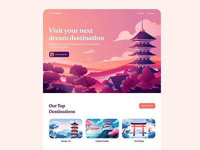 Travel Companion typography travel app figma illustrator uianimation uiux colorful herosection landingpage japan illustration travel
