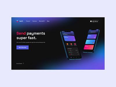 Payments - Hero Section principle motion uianimation landing hero section productdesign finance fintech app fintech