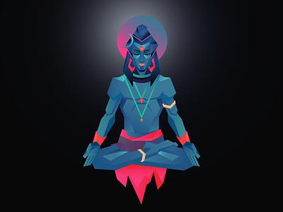 Lord Shiva retro art shiva god gradient digitalart design vector illustration
