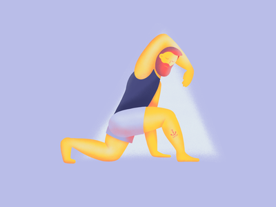 Yoga pose guy anchor tattoo stretch character serene illustration move pose yoga man procreate
