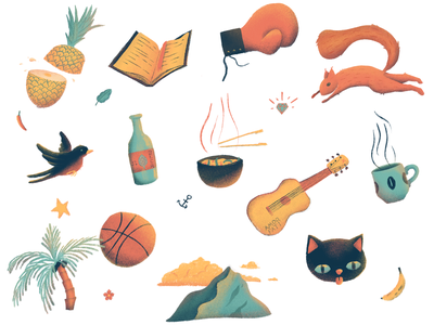 AboutMe collage about ipad procreate tropical squirrel pineapple cat illustration icons