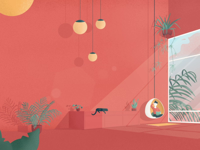 Showreel Intro light lamp chair room after effects plants view reading duik illustrator design interior house push coffee cat