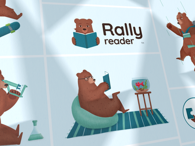 Rally Reader collage fish read bear illustration logo app reader