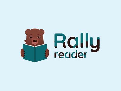 Rally Reader Logo animation joysticks sliders animal illustrator read bear logo