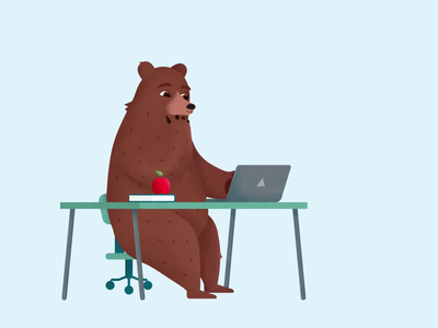 Bear Teacher duik bassel joysticksnsliders character animation loop laptop office desk research school bear teacher