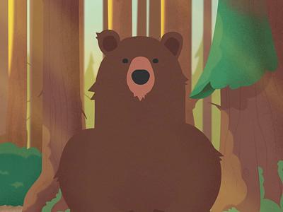 Bear Power Breath illustrator after effects sigh mindful animal tree breath plants animation forrest bear