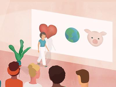 Presentation school classroom scene illustrator after effects rubber hose animation character ethics presentation