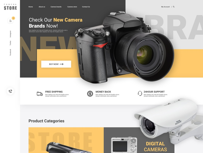 Camera Store Home Page illustrator website minimal web ui ux design