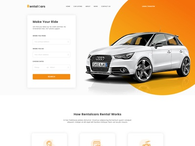 Car Rental Website Design illustration branding website web ux ui design