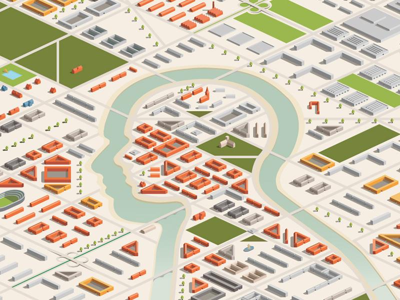 Iso Head city architecture colorful ngo isometric head illustration