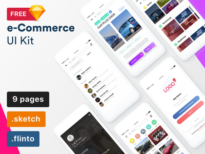 e-Commerce UI Kit template ios app freebie flinto sketch commerce kit free