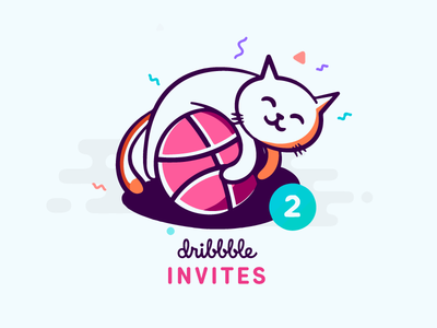 21x Dribbble Invites illustration cat animal ball kitten two giveaway invitation dribbble draft invite