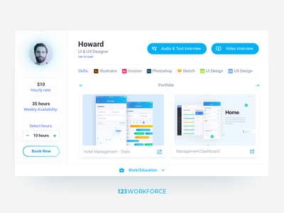 Hire a freelancer - Card UI ux userinterface minimal interaction cv design profile card profile skills payment ui portfolio card interface card hire freelancer