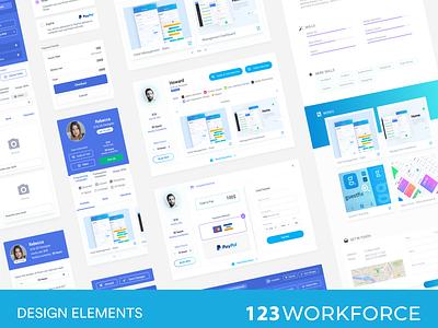 123 Workforce - Design Elements cv jobs portfolio mobile app freelancer dashboard minimal interface ios interaction ux ui