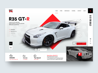 Nissan GTR - B is for Build gtr app ux photo nissan interaction userinterface ui landingpage car