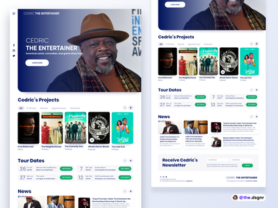 Cedric the Entertainer clean celebrity userinterface design interaction app interface landingpage ux ui
