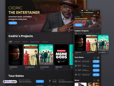 Cedric the Entertainer - Landing Page minimal interaction clean interface ux app ui celebrity dark ui tours movie actor landingpage