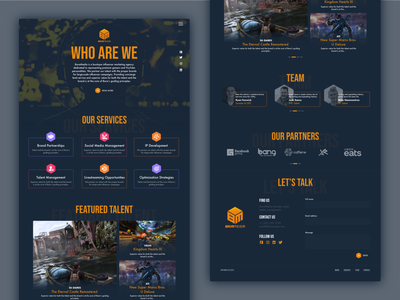 Marketing Agency in Gaming Industry design interface interaction ux ui influencer onepage singlepage dark ui marketing agency gaming