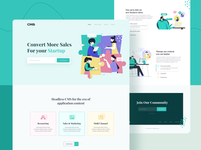 CMS landing page exploration webdesign crs trend2020 visual design idea business marketing management clean startup community cms illustration minimal icongraphy ux uidesign uiux interface design