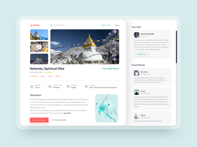 Airbnb Experience details page redesign adventure trendy product uidesign airbnbclone rebound experience minimal interface webdesign web reedesign airbnb uiux ui design