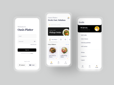 Food catering app UI input field profile homepage login uxdesign uiux dark icongraphy ux uidesign trendy minimal interface design ui food and drink foodcatering food app